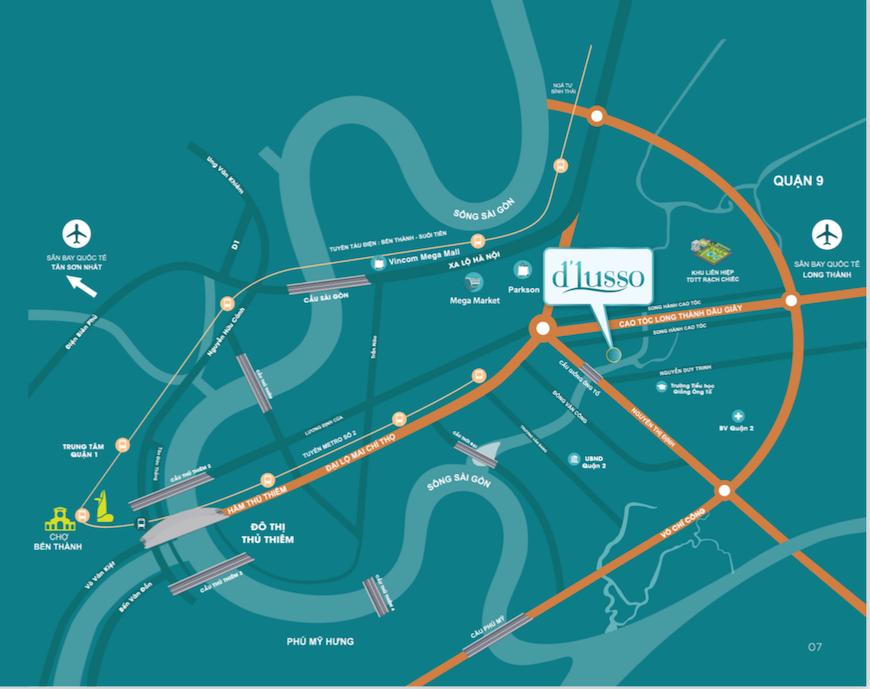 vị trí dự án căn hộ D'lusso quận 2